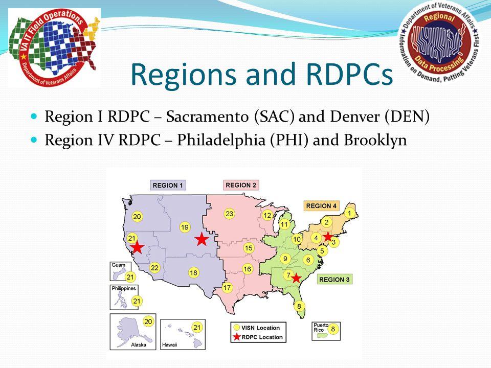Regions and RDPCs Region I RDPC – Sacramento (SAC) and Denver (DEN)