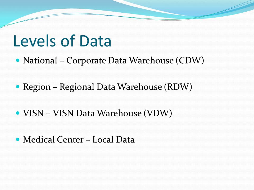 Levels of Data National – Corporate Data Warehouse (CDW)