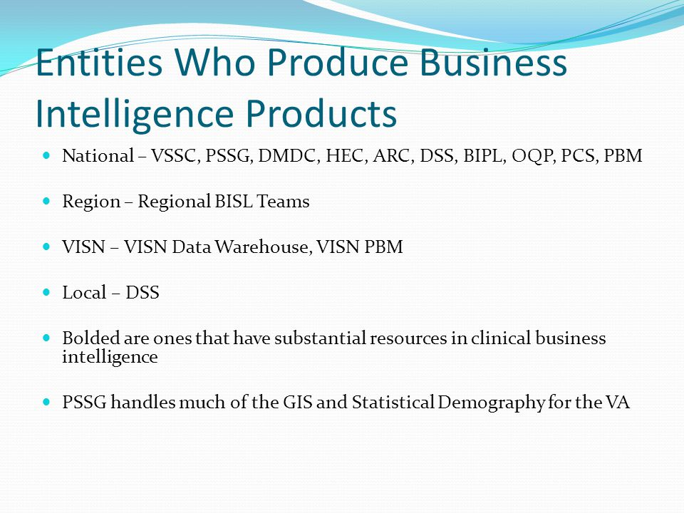 Entities Who Produce Business Intelligence Products
