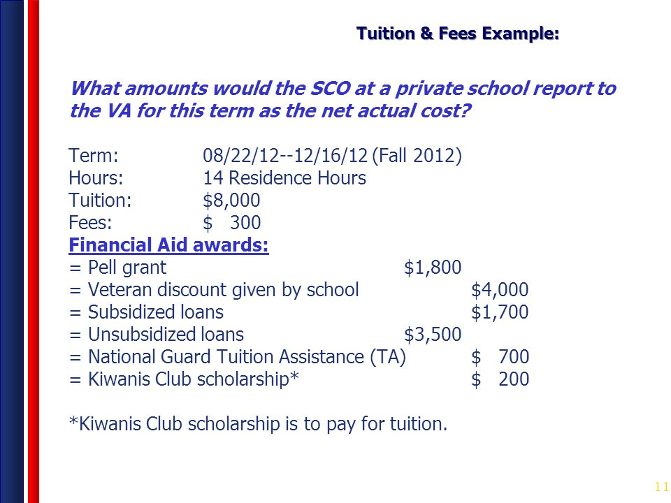 Tuition & Fees Example:
