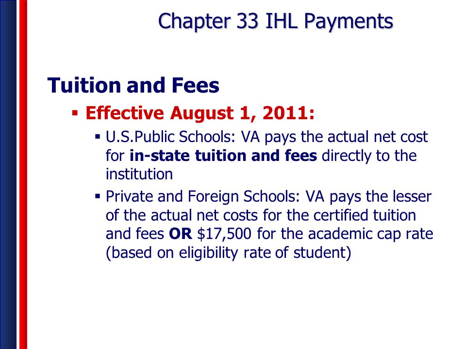 Chapter 33 IHL Payments Tuition and Fees Effective August 1, 2011: