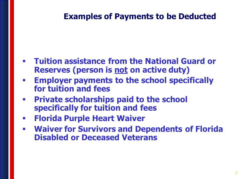 Examples of Payments to be Deducted