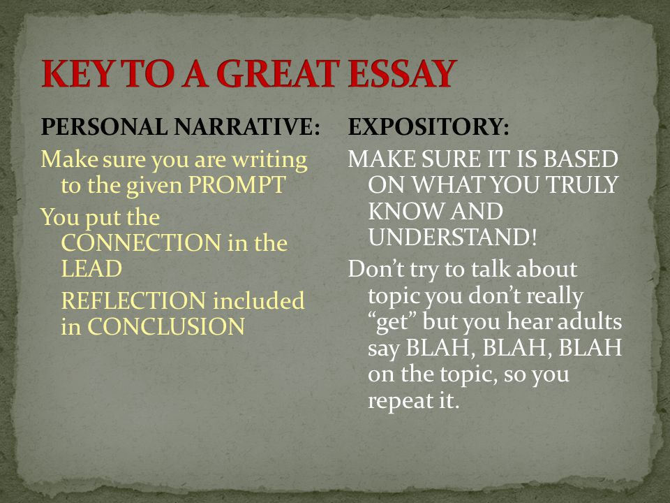 expository essay vs descriptive essay Narrative essays 2 descriptive essays 3 expository essays 4 persuasive essays i personally think this is a bit of an oversimplification i also think there are .