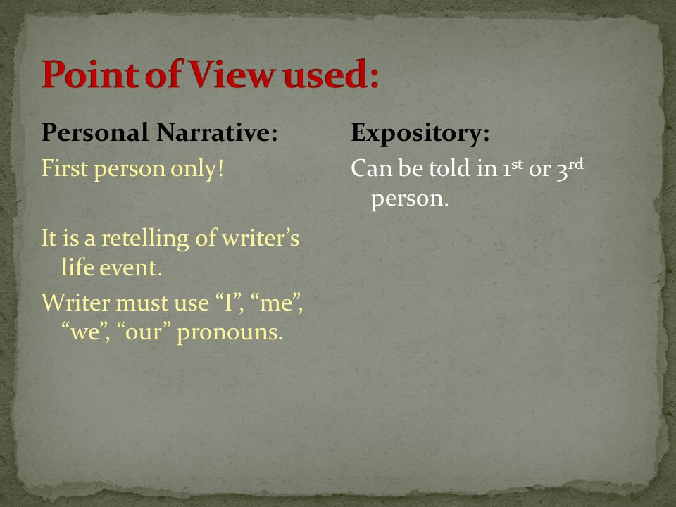 Point of View used: Personal Narrative: Expository: First person only!