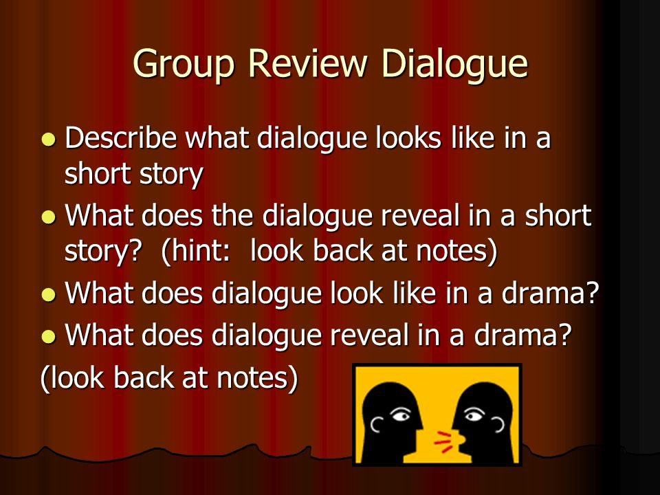 Group Review Dialogue Describe what dialogue looks like in a short story.