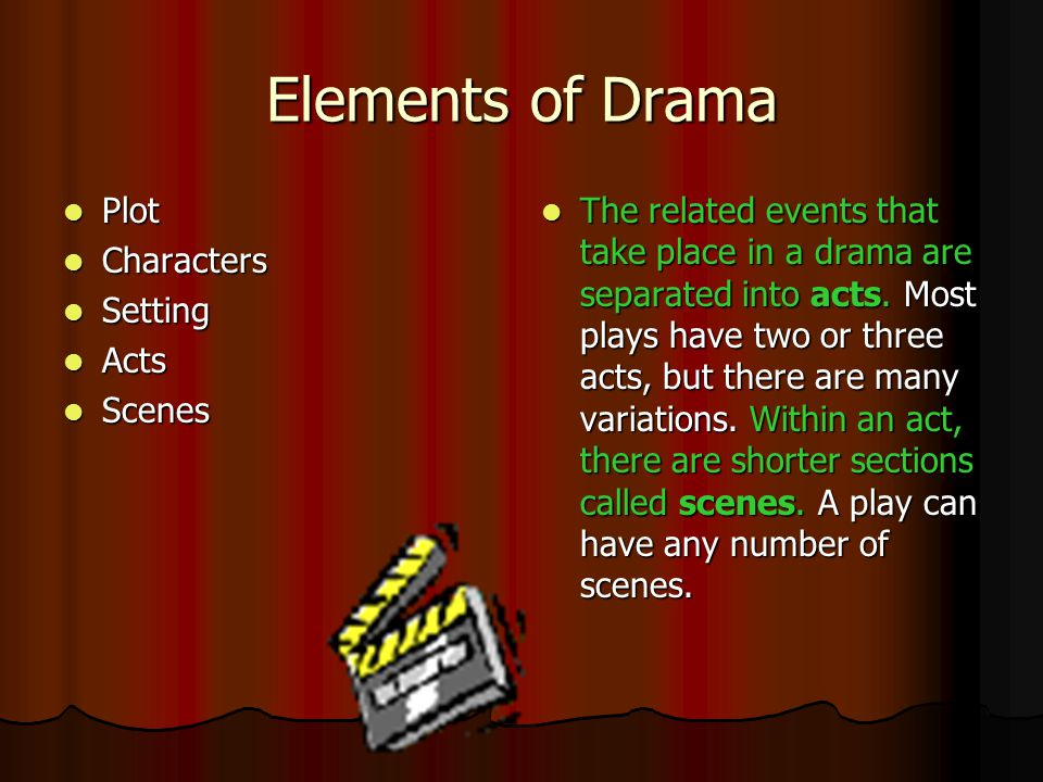 Elements of Drama Plot Characters Setting Acts Scenes
