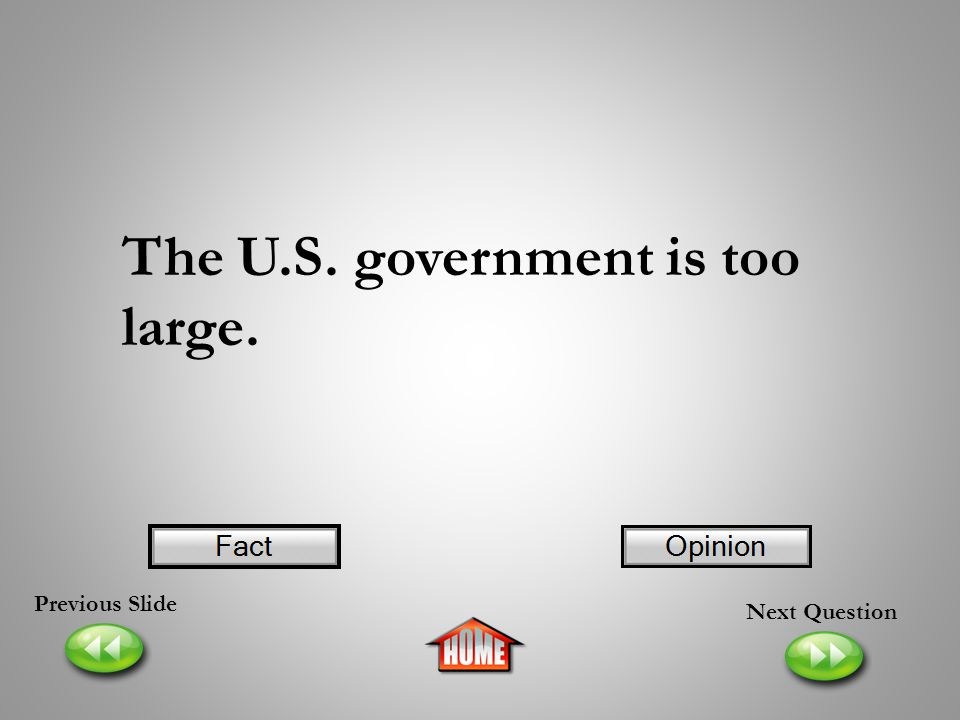 The U.S. government is too large.