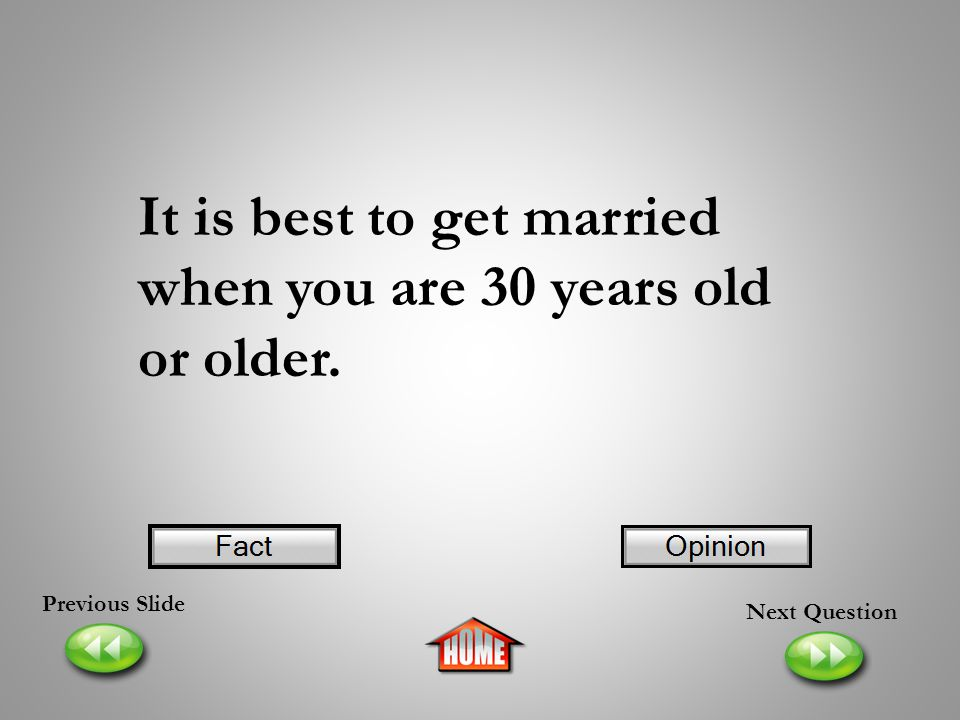 It is best to get married when you are 30 years old or older.