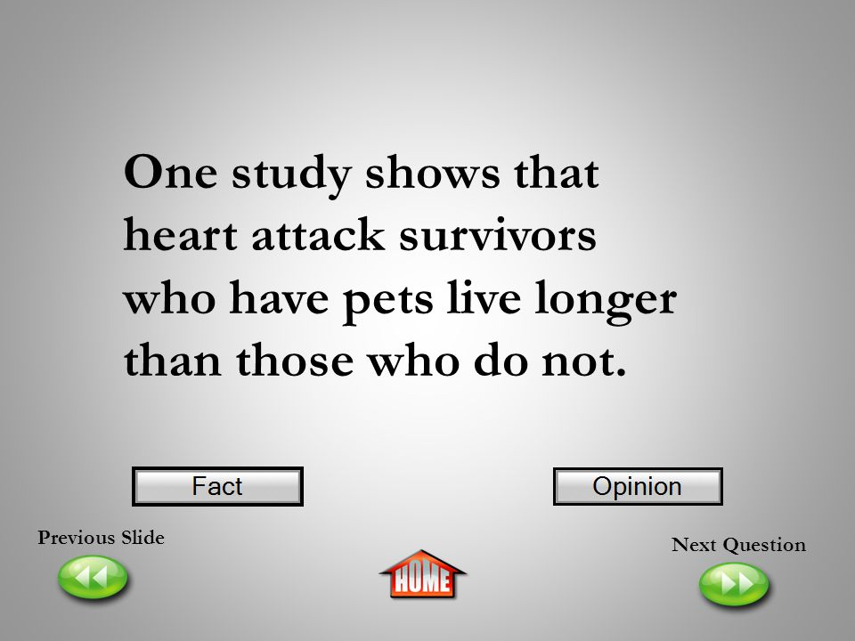 One study shows that heart attack survivors who have pets live longer than those who do not.