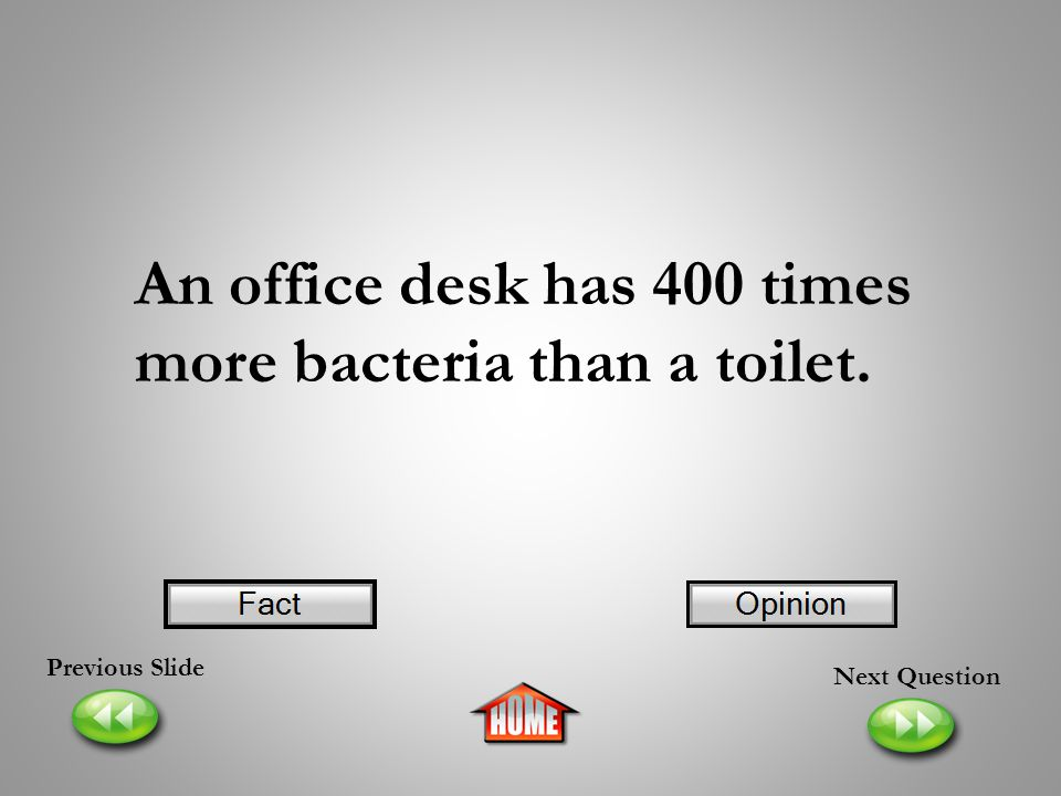 An office desk has 400 times more bacteria than a toilet.