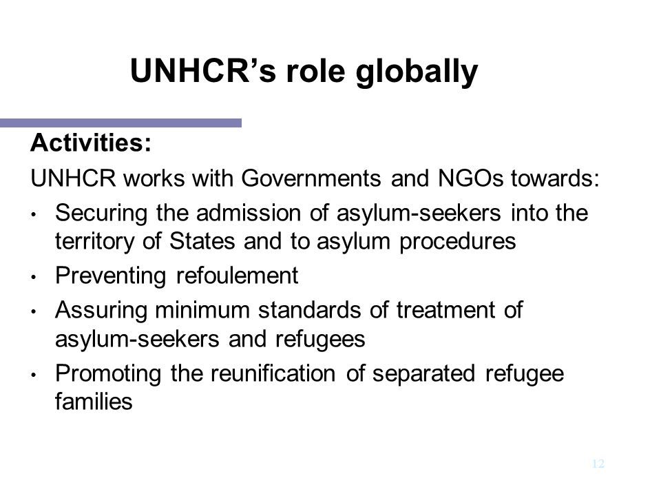 UNHCR's role globally Activities: