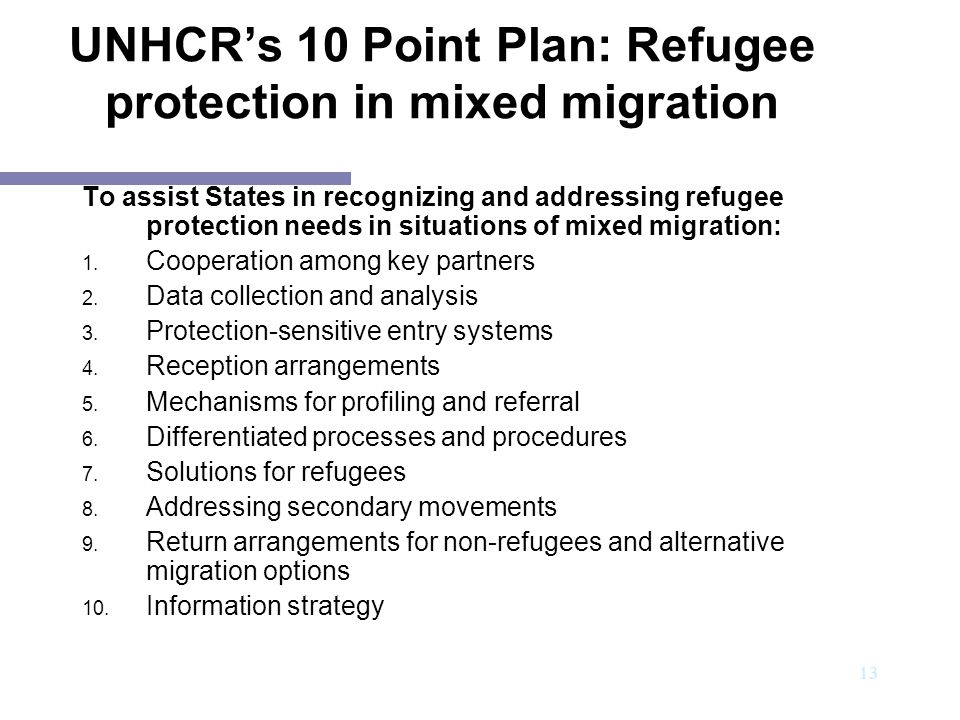 UNHCR's 10 Point Plan: Refugee protection in mixed migration