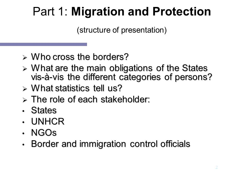 Part 1: Migration and Protection (structure of presentation)