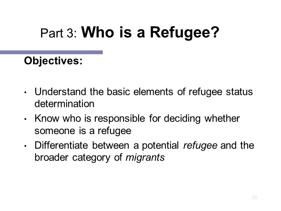 Part 3: Who is a Refugee Objectives: