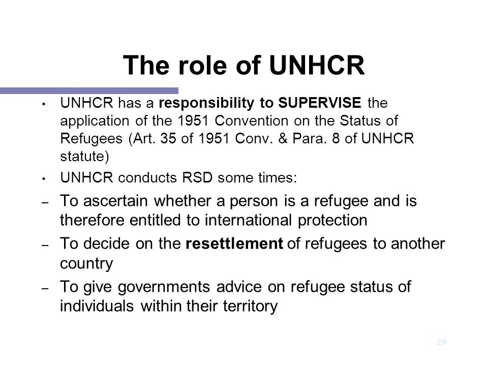The role of UNHCR