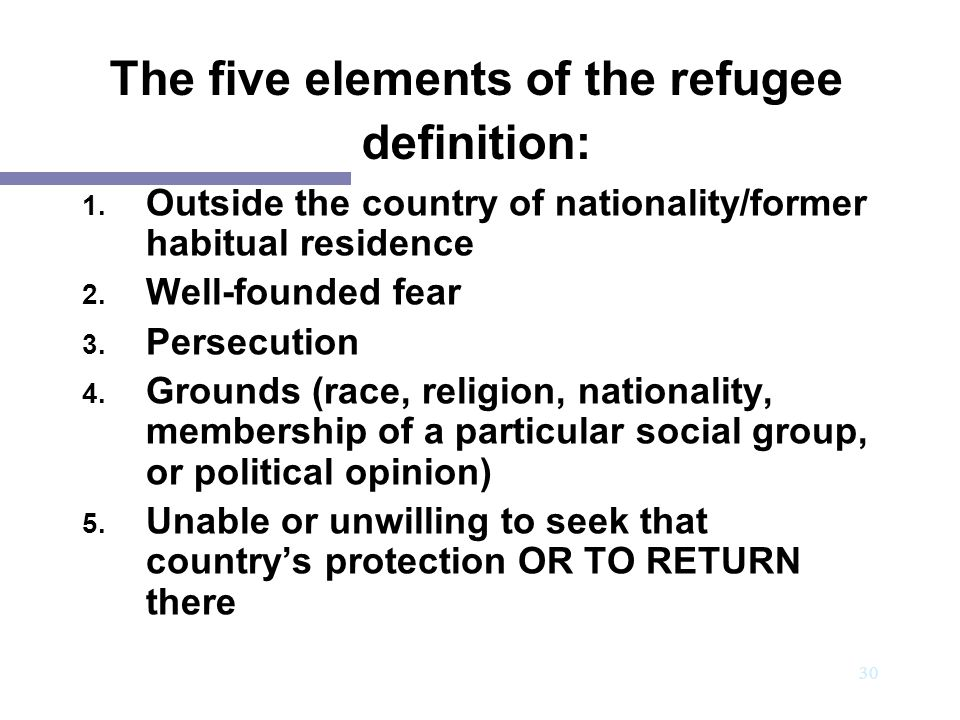 The five elements of the refugee definition: