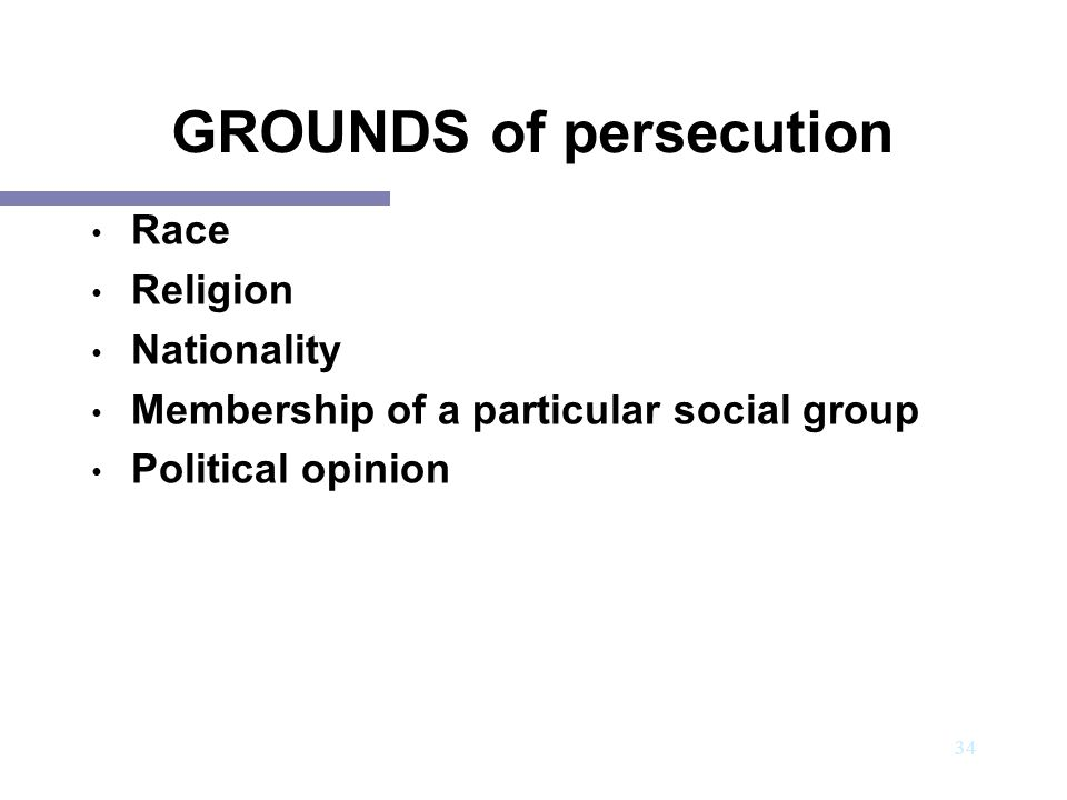 GROUNDS of persecution