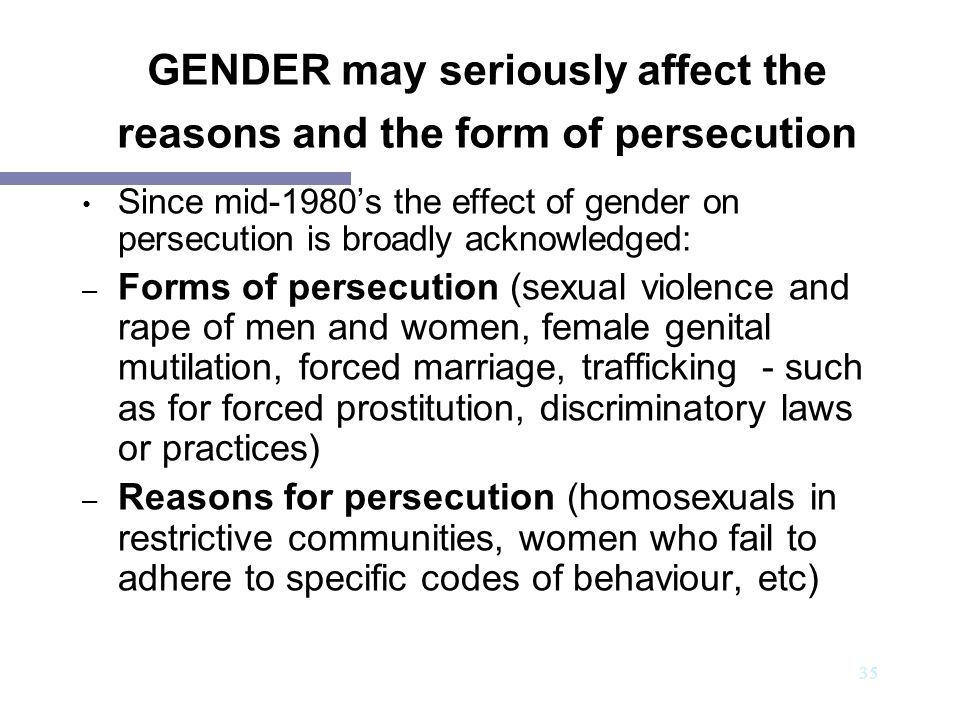 GENDER may seriously affect the reasons and the form of persecution