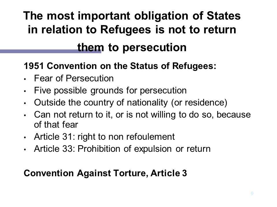 The most important obligation of States in relation to Refugees is not to return them to persecution