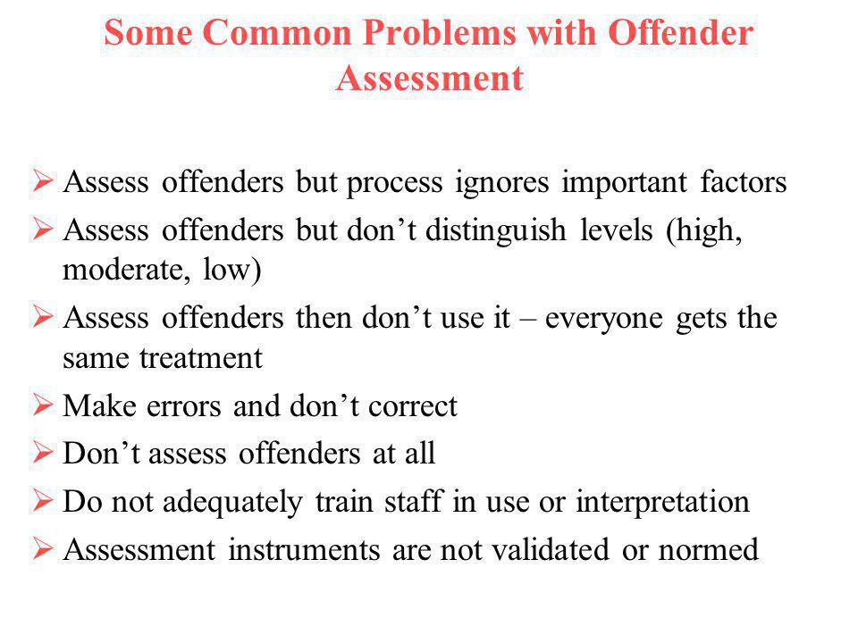 Some Common Problems with Offender Assessment