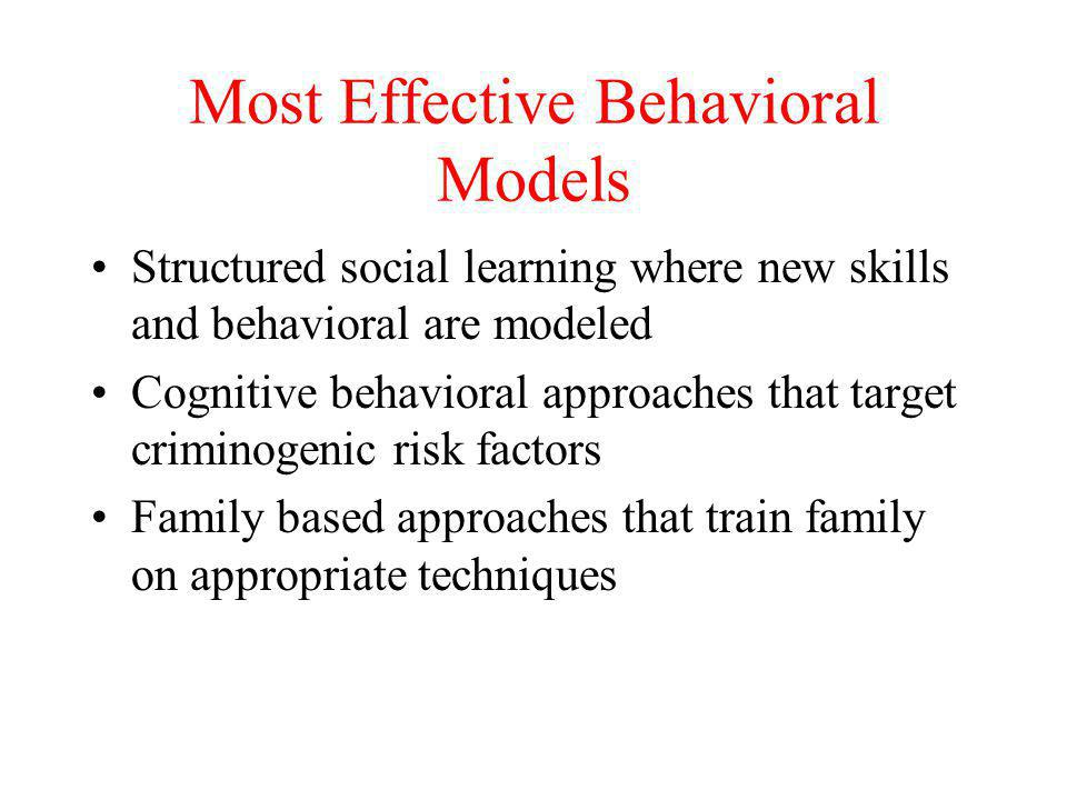 Most Effective Behavioral Models