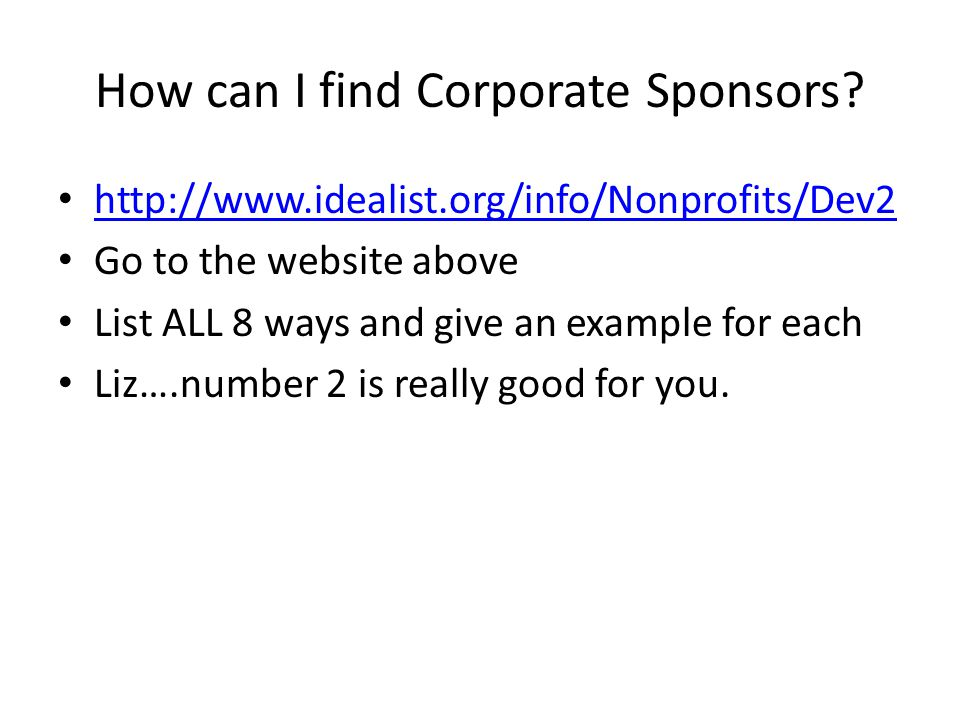 How can I find Corporate Sponsors
