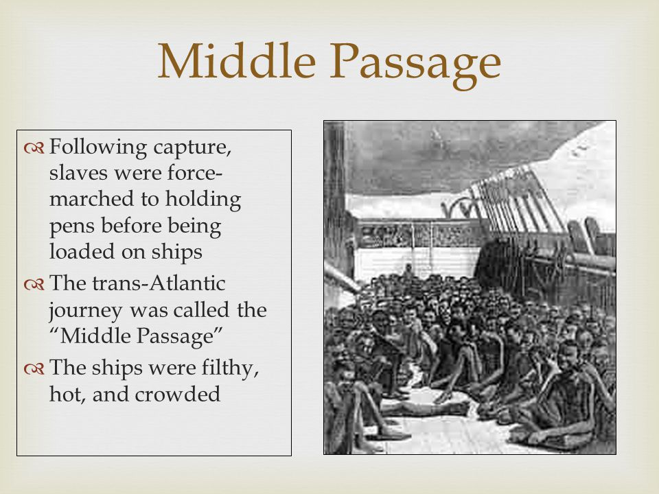 Middle Passage Following capture, slaves were force- marched to holding pens before being loaded on ships.