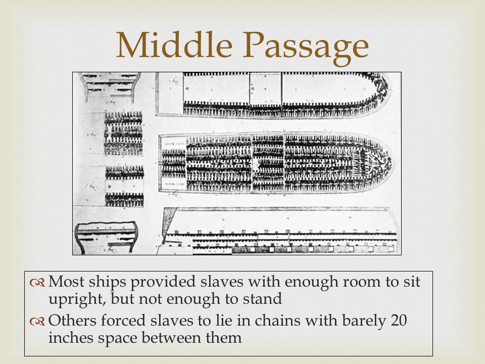 Middle Passage Most ships provided slaves with enough room to sit upright, but not enough to stand.