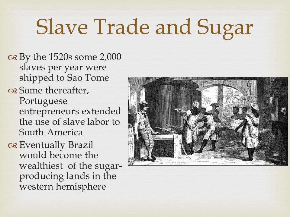Slave Trade and Sugar By the 1520s some 2,000 slaves per year were shipped to Sao Tome.