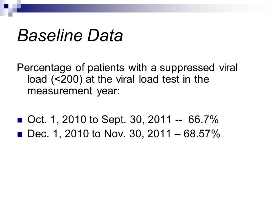Baseline Data Percentage of patients with a suppressed viral load (<200) at the viral load test in the measurement year: