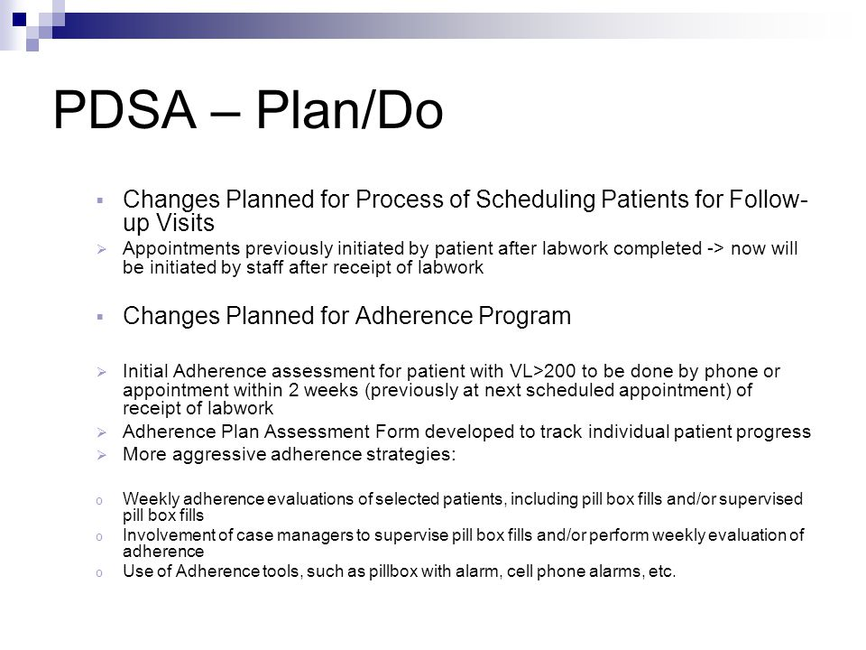PDSA – Plan/Do Changes Planned for Process of Scheduling Patients for Follow-up Visits.