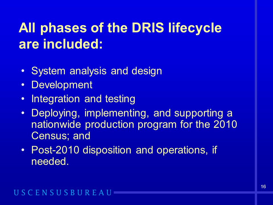 All phases of the DRIS lifecycle are included: