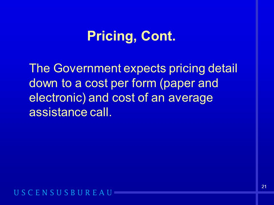 Pricing, Cont.