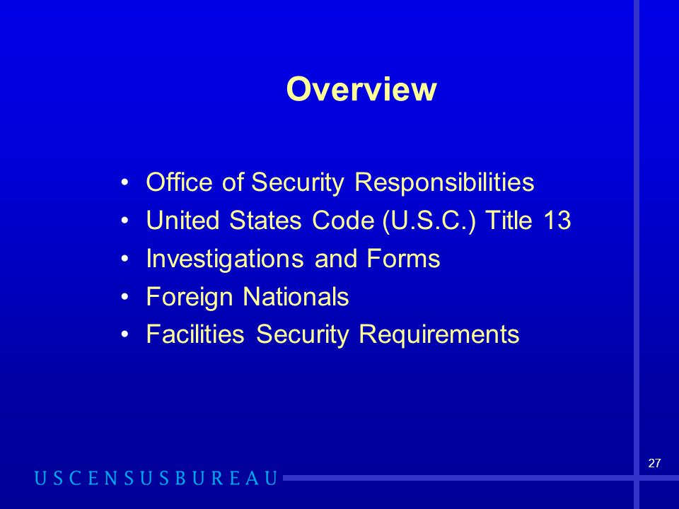 Overview Office of Security Responsibilities