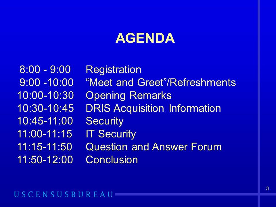 AGENDA 8:00 - 9:00 Registration