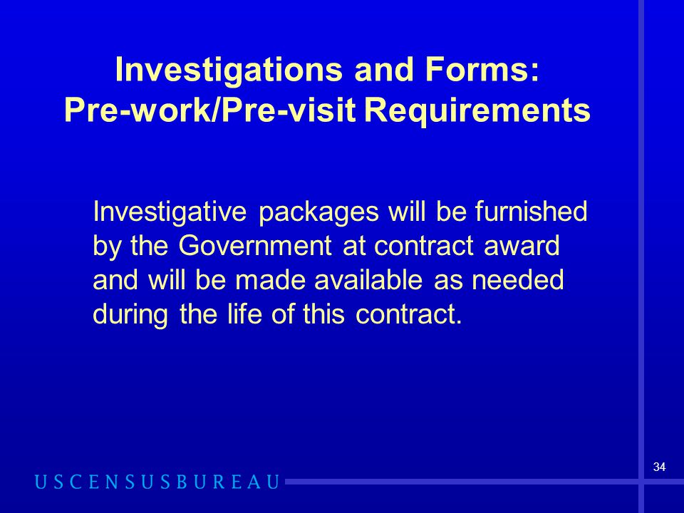 Investigations and Forms: Pre-work/Pre-visit Requirements