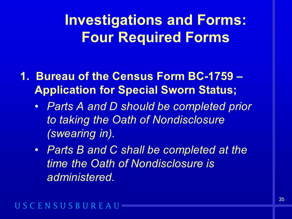 Investigations and Forms: Four Required Forms
