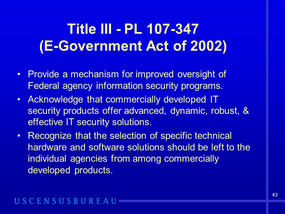 Title III - PL 107-347 (E-Government Act of 2002)