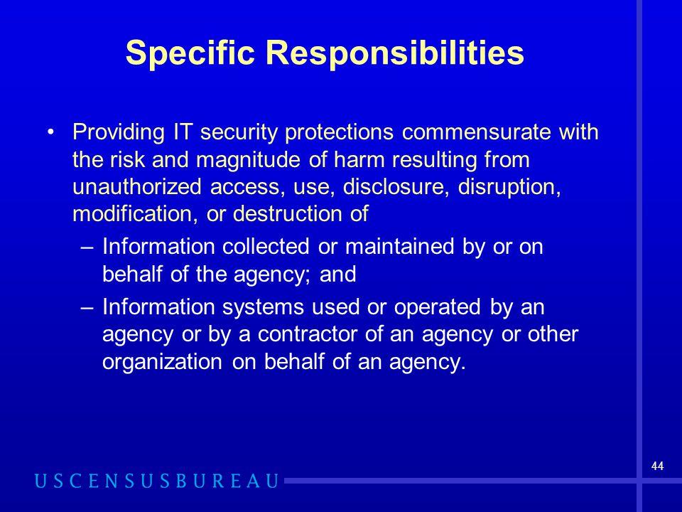 Specific Responsibilities