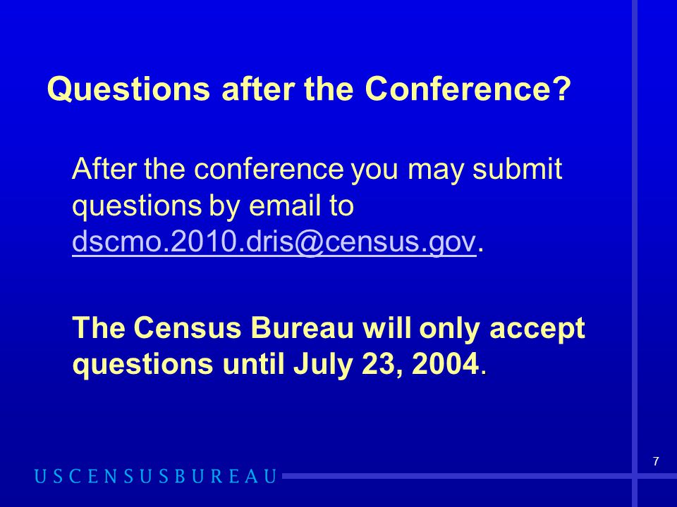 Questions after the Conference