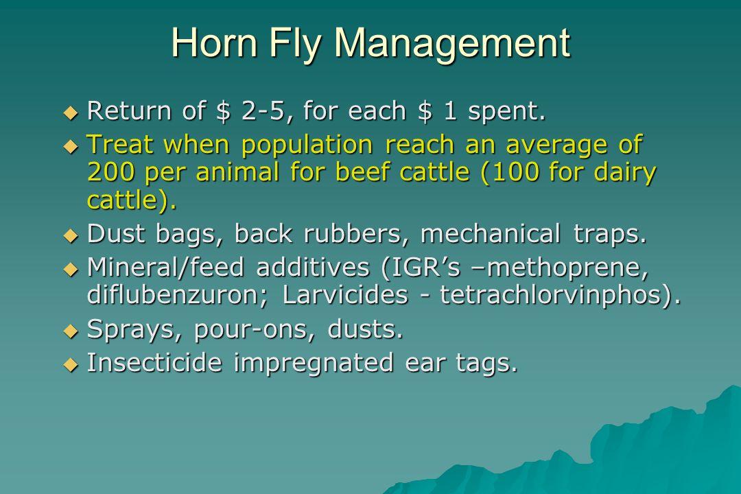 Horn Fly Management Return of $ 2-5, for each $ 1 spent.
