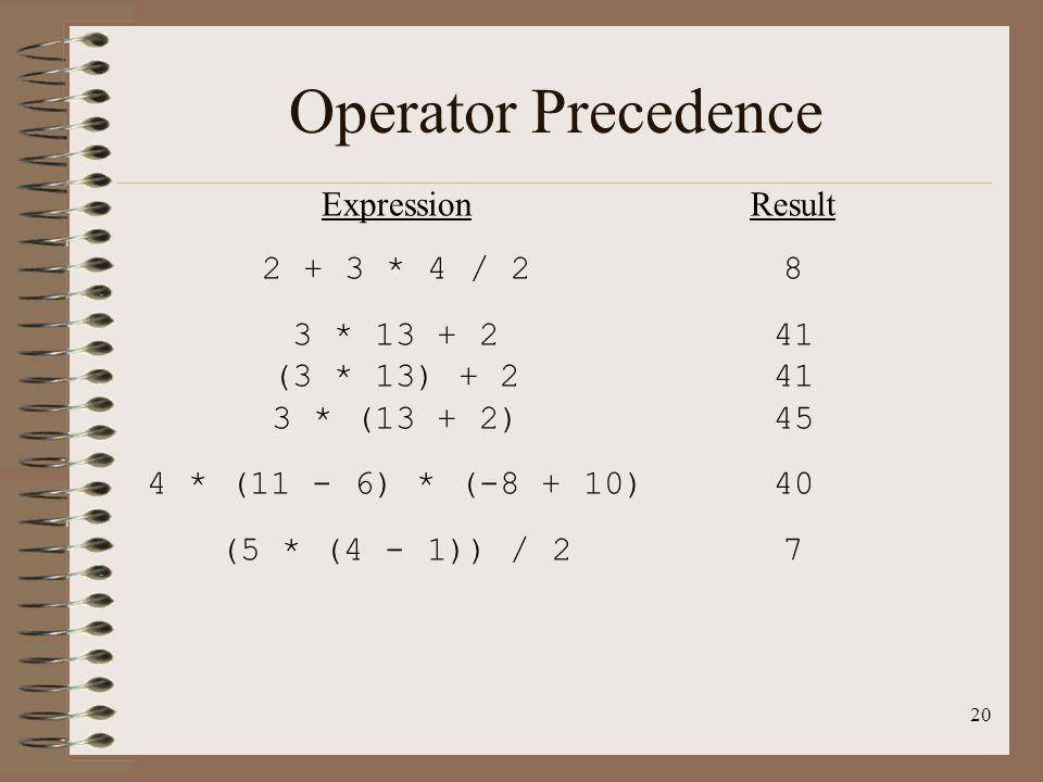 Operator Precedence Expression 2 + 3 * 4 / 2 3 * 13 + 2 (3 * 13) + 2