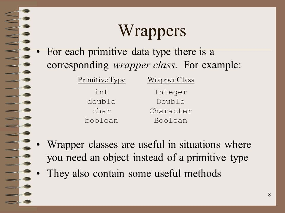 Wrappers For each primitive data type there is a corresponding wrapper class. For example: