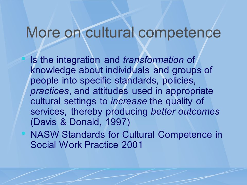 More on cultural competence