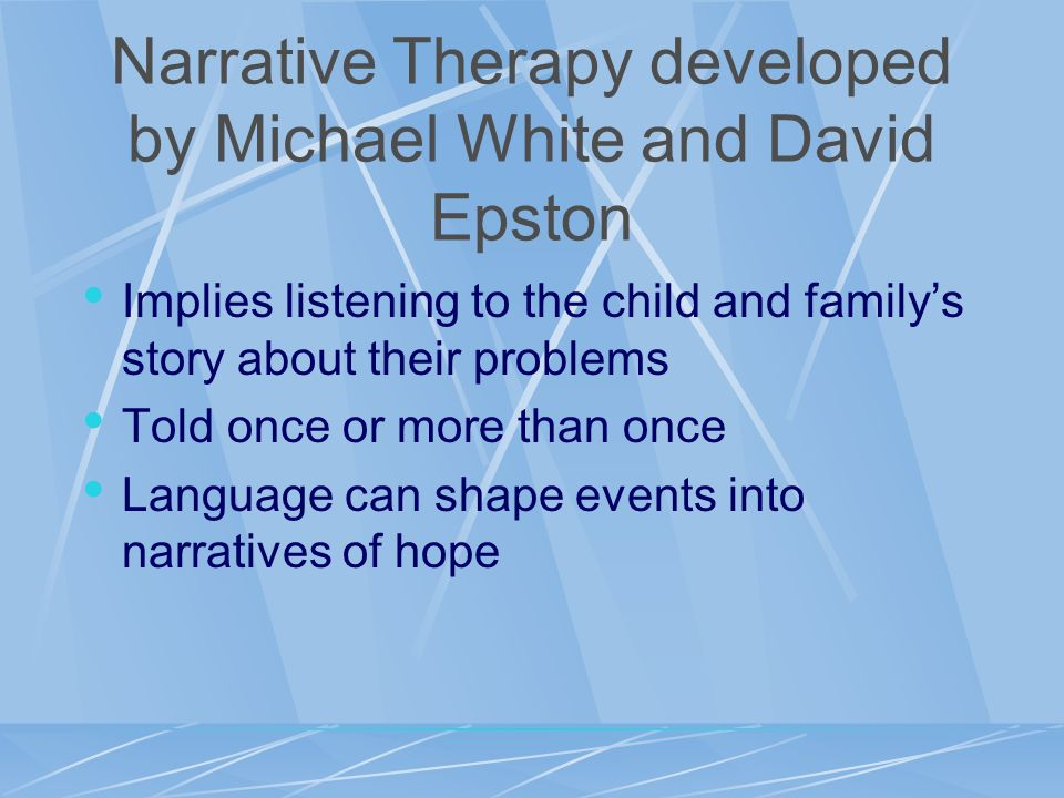 Narrative Therapy developed by Michael White and David Epston
