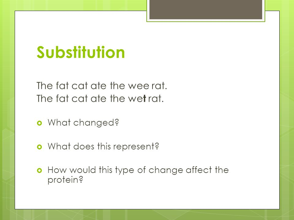 Substitution The fat cat ate the wee rat. The fat cat ate the wet rat.