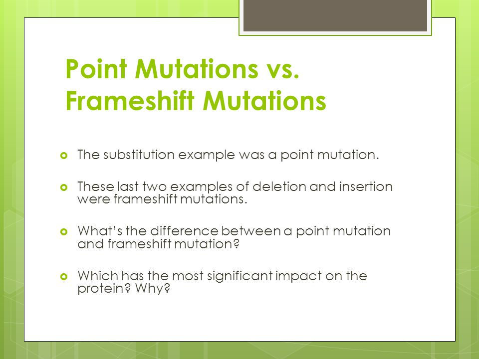 Point Mutations vs. Frameshift Mutations