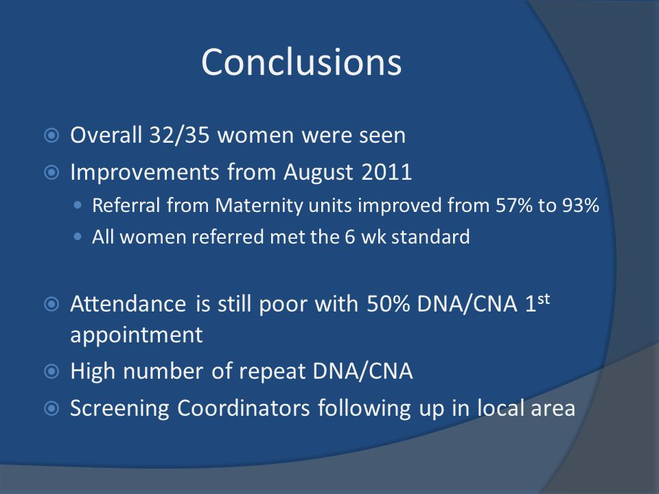 Conclusions Overall 32/35 women were seen