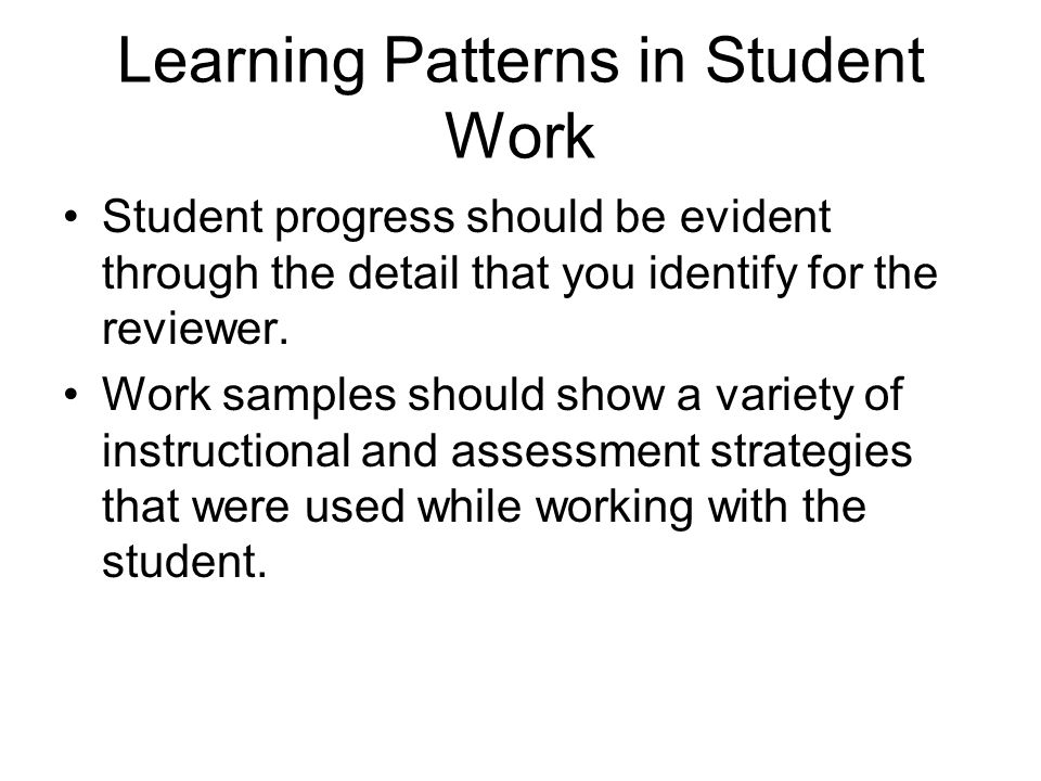 Learning Patterns in Student Work