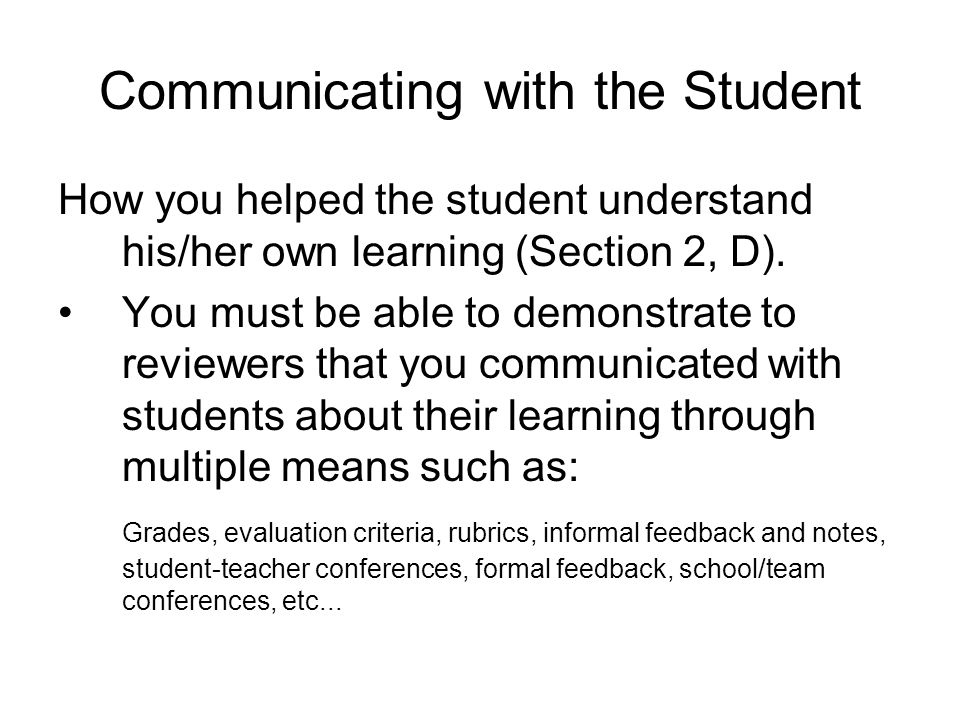 Communicating with the Student
